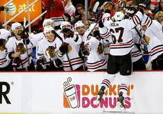 The Flying Frolik!  (celebrating after an amazing penalty shot against the Detroit Red Wings in the Stanley Cup Playoffs)