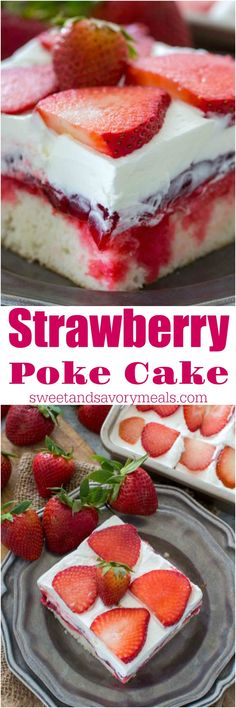 Make this Strawberry Poke Cake recipe. Its made with white cake, soaked with a mixture of white chocolate strawberry sauce, topped with strawberry pie filling and creamy whipped cream. A delicacy to die for! Perfect for tea parties or birthday cake. Strawberry Poke Cakes, Strawberry Desserts, Köstliche Desserts, Delicious Desserts, Strawberry Sauce, Dessert Recipes, Chocolate Strawberries, Covered Strawberries, Strawberry Shortcake