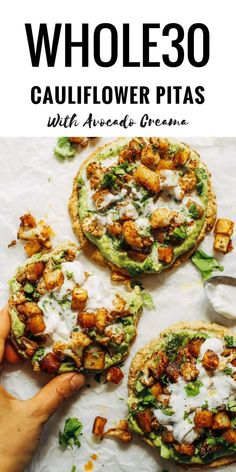 Roasted Veggie Paleo Cauliflower Pitas With Avocado Crema thanks for share :) BEST RECIPES . Roasted Veggie Paleo Cauliflower Pitas With Avocado Crema Whole 30 Lunch, Whole 30 Diet, Paleo Whole 30, Whole 30 Vegetarian, Vegetarian Lunch Ideas For Work, Veggie Lunch Ideas, Healthy Breakfast Recipes, Vegetarian Recipes, Healthy Recipes