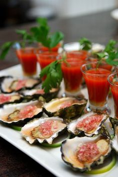 Oysters with Shallot Mignonette & bloody Mary's--the best Tapas, Seafood Recipes, Cooking Recipes, Good Food, Yummy Food, Sashimi, Ceviche, Fish And Seafood, Great Recipes