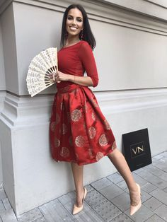 Waist Skirt, Midi Skirt, High Waisted Skirt, Red Skirts, High Low, Dresses, Fashion, Vestidos, Moda