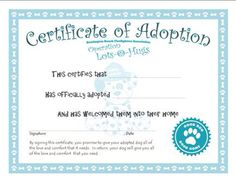 Doll Adoption Certificate Template  Google Search  KaliaS Th