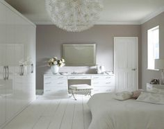 This built-in bedroom furniture range is inspired by the desire for minimalist living, combining the light-reflecting properties of white gloss with the unbroken lines of contemporary styling. Create a truly glamourous fitted bedroom boudoir. You can choose to accessorise these stunning units with our dazzling new handles created with Crystalized™ Swarovski Elements.