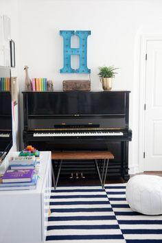 Bonus Room Reveal — STUDIO MCGEE with nuLOOM Hand Hooked Braxton Area rug  Area rug, stripes, home decor, interior design, modern, style, children' room, piano