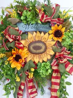 Ladybug Sunflower Mesh Spring and Summer Wreath by WilliamsFloral on Etsy https://www.etsy.com/listing/277321486/ladybug-sunflower-mesh-spring-and-summer
