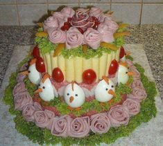 """Have you ever heard of a """"Smörgåstårta"""" cake? Well they are cakes made with sandwich and salad ingredients. So here are my top 10 sandwich cake recipes Party Trays, Party Platters, Snacks Für Party, Cheese Platters, Food Platters, Fruit Recipes, Easter Recipes, Cake Recipes, Sandwich Torte"""