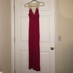 Charming Charlie Maxi Dress V-neck, lace back, size M. Charming Charlie Dresses Maxi