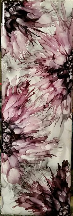 Spritzed flowers in alcohol ink on 12x4 tile. Slate, pitch black and currant.