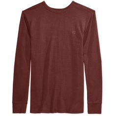 Billabong Men's Essential Thermal-Knit T-Shirt ($30) ❤ liked on Polyvore featuring men's fashion, men's clothing, men's shirts, men's t-shirts, brick, mens base layer shirts, mens t shirts and mens double layer t shirt