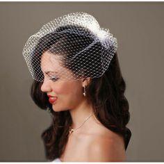 Birdcage Veil with Comb - Ivory/Light Cream - 18 inch