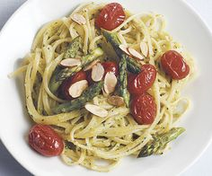 Linguine with Roasted Asparagus and Almond Pesto by Fine Cooking