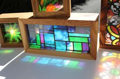 Modern Stained Glass Handmade Timber Light Box. Translucent prints that glow in natural light! by WindowsofLightDesign on Etsy https://www.etsy.com/au/listing/217143307/modern-stained-glass-handmade-timber