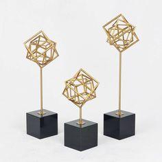 北欧金属几何套三摆件美式新古典软装样板间书房客厅雕塑装饰品-淘宝网