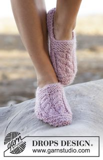 """Cozy Spring - Knitted DROPS slippers in garter st with cables in """"Andes"""". - Free pattern by DROPS Design"""