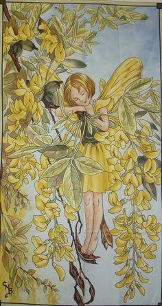 FLOWER FAIRY Cicely Mary Barker Sunshine Large Fairy Panel Fabric. $7.50, via Etsy.