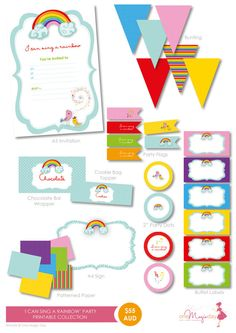 I Can Sing A Rainbow  Party PRINTABLE by OneMagicDayPrintable, $55.00