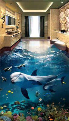 Details About Underwater Shark Turtles 3d Floor Mural Photo
