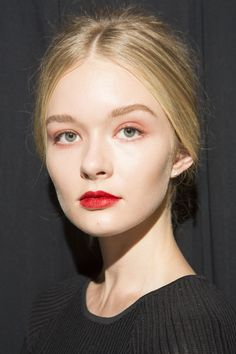 Badgley Mischka NYFW. Nearly bare with Red lips as the focus. I havent tried this look before. Mmm