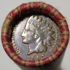 UNSEARCHED WHEAT ROLL PDS + 1907 INDIAN CENT + 1943-D AU WHEAT + 5 BONUS COINS
