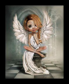 LittleDesign: Trixie Fairy Pictures, Angel Pictures, Cute Pictures, Anime Fairy, Fantasy Kunst, Fantasy Art, Big Eyes Artist, Black Fairy, Fairy Tattoo Designs