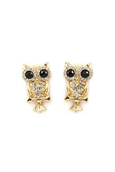 Owl Earrings with Crystal Hearts