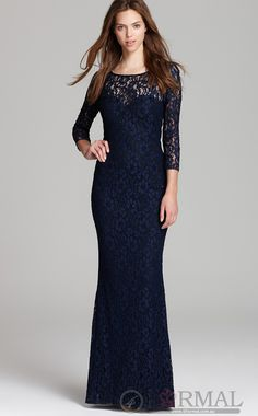 Classy Blue Lace Semi-Formal Dress With Sleeves on Sale (JTAU-0154) at 4formal.com.au