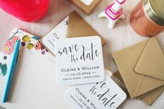 Calligraphy Letterpress Save the Date Coaster by SimplyPressedPS