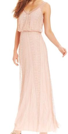 New with tag $299 Adrianna Papell Illusion Beaded Blouson Gown sz 0 #AdriannaPapell #BallGown #Cocktail