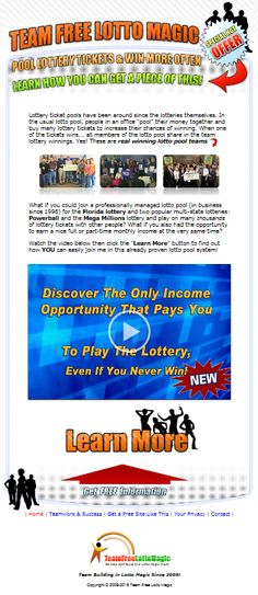 Lotto Magic Team provides you with a custom fully functional web site when you join our team - get yours! Magic Team, Lottery Tickets, Join Our Team, Workplace, Surfing, Social Media, Marketing, Website, Business