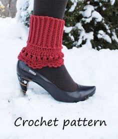Ravelry: 2 in 1 crochet lacy edge boot cuff, boot socks boot toppers or spats pattern by pearl hegedus Cute with clogs and leggings Guêtres Au Crochet, Crochet Boots, Crochet Gloves, Crochet Slippers, Crochet Headbands, Knit Headband, Baby Headbands, Boot Toppers, Crochet Boot Cuff Pattern