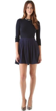 SHOSHANNA Combo Pleated Sweater Dress $350 #fashion #outfit #clothes #dress #designer #mini #pleated #blue #knit #sweater #fall #style #stylish #chic #feminine #elegant #sweet #date #party