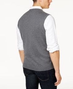 Club Room Men's Cable-Knit Cotton Sweater Vest, Created for Macy's - Gray XL