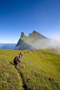 King & Queens hike to Hornbjarg, is a one-days hike from nearby town Isafjordur, in the NorthEast-part of the Westfjords, Iceland. Oh The Places You'll Go, Places To Travel, Places To Visit, Iceland Travel, Iceland Hikes, Voyage Europe, Adventure Is Out There, Where To Go, Land Scape