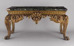 Side table, ca. 1740  After a design by Matthias Lock (English, ca. 1710–1770)  Carved gilt pine with verde antico marble veneered top