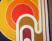 PANTON stretched retro iconic fabric wall hanging HUGE canvas vintage art TANGERINE Tango