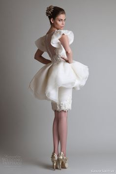 krikor jabotian fall winter 2013 2014 short peplum dress back