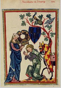 A courtly German knight 'Der Schenk von Limpurg' from the early 14th-century Manesse Codex.