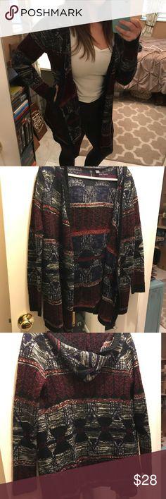 Full tilt knitted sweater Tribal print, hooded sweater. Worn once. Full Tilt Sweaters