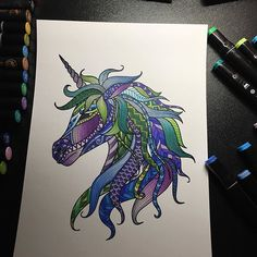 Awesome zen themed unicorn page which was coloured by @melanieninademaret with their Chameleon Pens.  #unicorn #blue #green #purple #chameleonpens