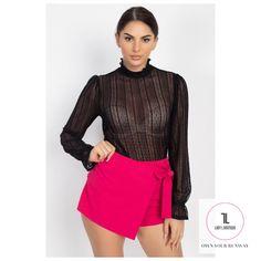 Ruffle Mock Neck Lace Top #Black #TOPS #APPAREL #NewArrivals #glambags #instafashion #womeninbusiness #boutiqueshopping #smallbusiness #girlboss Black Lace Tops, Black Ruffle, Ruffle Trim, Black Fabric, Lace Knitting, Knit Lace, Terry Long, Tie Dyed, Mock Neck