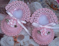 Botties w/ Pearls*crocheted for you from cotton thread with crocheted in beads