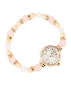 passage mignon/flaneur(パサージュミニョン/フラヌール)のミックスビジューブレスウォッチ(腕時計)|ピンク