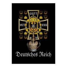 Prussian Battle Flag 1870 and Pickelhaube Helmet Posters
