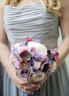 Purple Bridesmaid Bouquet | Jennifer Lindberg Weddings | blog.theknot.com