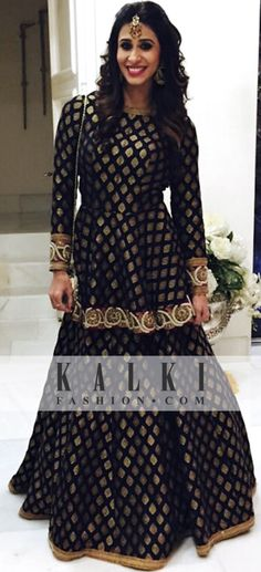 Kishwar Merchant - KALKI Black and Gold Suit