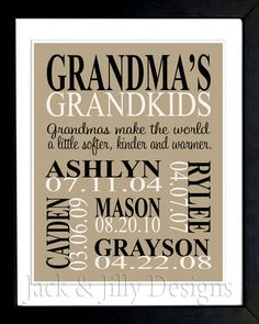Personalized GRANDPARENT PRINT- the original :) - with Grandchildrens Names and Birthdays - Completely Customizable - Christmas Gift via Etsy