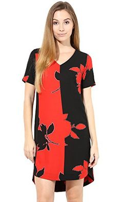 9259e1f2cd The Gud Look Womens Polycrepe Poppy Printed Dress L Red   Continue to the  product at