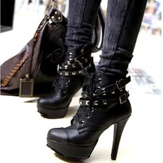Women's #Fashion #Shoes: Lace-Up Buckle PU Woman's #Black and #Silver Studded High Heel Booties: #Boots