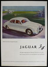 1959 JAGUAR 3.4 Saloon Garage Place Geneva Vintage Car Automotive Ad Advert