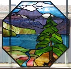 stained glass mountain | Mountain panel finished finally | Stained Glass
